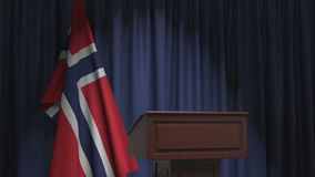 National flag of Norway and speaker podium tribune. Political event or statement related conceptual 3D animation