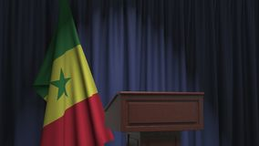 National flag of Senegal and speaker podium tribune. Political event or statement related conceptual 3D animation