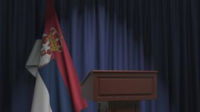 National flag of Serbia and speaker podium tribune. Political event or statement related conceptual 3D animation