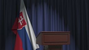 National flag of Slovakia and speaker podium tribune. Political event or statement related conceptual 3D animation