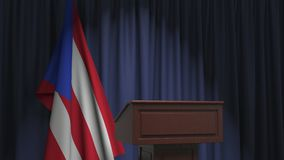 Flag of Puerto Rico and speaker podium tribune. Political event or statement related conceptual 3D animation