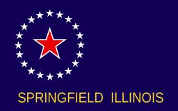 Flag of Springfield in Illinois, USA. Flag of Springfield is the capital of the U.S. state of Illinois and the county seat of Sangamon County royalty free stock photography