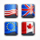 Flag square icons Royalty Free Stock Photo