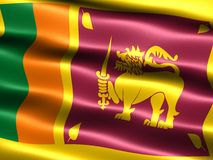 Flag of Sri Lanka. Computer generated illustration with silky appearance and waves Royalty Free Stock Photos