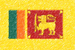 Flag of Sri Lanka background o texture, color pencil effect. Stock Image