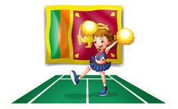 The flag of Sri Lanka and the cheerdancer with yellow pompoms Royalty Free Stock Photography
