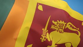 Flag of Sri Lanka. The flag of Sri Lanka consists of a gold lion, holding a kastane sword in its right fore paw on a dark red background with four golden bo stock video
