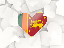 Flag of sri lanka, heart shaped stickers. Background. 3D illustration Royalty Free Stock Images