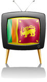 The flag of Sri Lanka inside a TV screen Stock Photos
