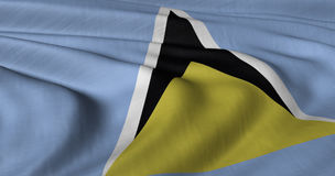 Flag of St Lucia. Fluttering in light wind Royalty Free Stock Photography