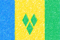 Flag of St Vinc & Grenadines background o texture, color pencil Royalty Free Stock Images
