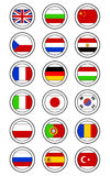 Flag Stamps. A set of 18 various flags with border for custom text Stock Photo