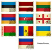 Flag Stamps_Eastern Europe Stock Images
