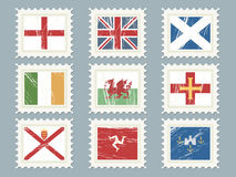 Flag stamps set 2. A collection of flag stamps, england, uk, scotland, ireland, wales, guernsey, jersey, isle of man, isle of wight Royalty Free Stock Photography