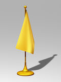 Flag stand. Golden flag stand, standard bearer with flag in gold Royalty Free Stock Photography