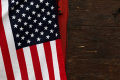 Flag stars and stripes. Stars and stripes on wood background Royalty Free Stock Photo