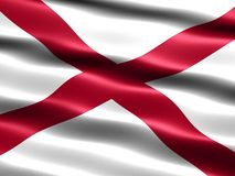 Flag of the state of Alabama. Computer generated illustration of the flag of the state of Alabama with silky appearance and waves stock illustration
