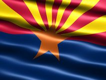 Flag of the state of Arizona. Computer generated illustration of the flag of the state of Arizona with silky appearance and waves royalty free illustration
