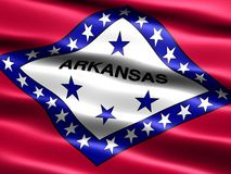 Flag of the state of Arkansas. Computer generated illustration of the flag of Arkansas with silky appearance and waves royalty free illustration