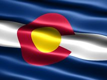 Flag of the state of Colorado. Computer generated illustration of the flag of the state of Colorado with silky appearance and waves stock illustration
