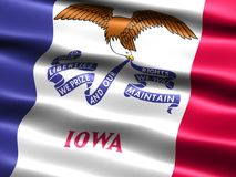 Flag of the state of Iowa. Computer generated illustration of the flag of the state of Iowa with silky appearance and waves royalty free illustration