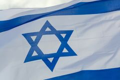 Flag of State of Israel, white-blue with Star of David, Magen Da. National flag of State of Israel, white-blue with Star of David, Magen David Royalty Free Stock Image