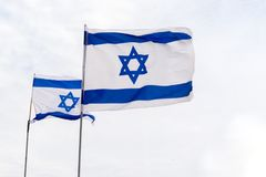 Flag of State of Israel, white-blue with Star of David, Magen Da. National flag of State of Israel, white-blue with Star of David, Magen David Stock Images