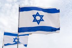 Flag of State of Israel, white-blue with Star of David, Magen Da. National flag of State of Israel, white-blue with Star of David, Magen David Royalty Free Stock Images