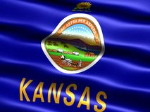 Flag of the state of Kansas. Computer generated illustration of the flag of the state of Kansas with silky appearance and waves stock illustration