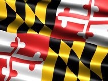 Flag of the state of Maryland. Computer generated illustration of the flag of the state of Maryland with silky appearance and waves royalty free illustration