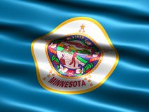 Flag of the state of Minnesota. Computer generated illustration of the flag of the state of Minnesota with silky appearance and waves Royalty Free Stock Image