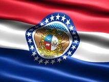 Flag of the state of Missouri. Computer generated illustration of the flag of the state of Missouri with silky appearance and waves stock illustration