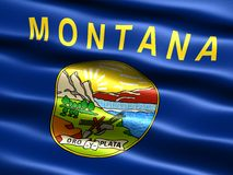 Flag of the state of Montana. Computer generated illustration of the flag of the state of Montana with silky appearance and waves Stock Images