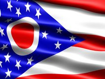 Flag of the state of Ohio. Computer generated illustration of the flag of the state of Ohio with silky appearance and waves royalty free illustration