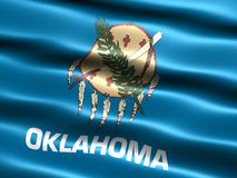 Flag of the state of Oklahoma. Computer generated illustration of the flag of the state of Oklahoma with silky appearance and waves Royalty Free Stock Image