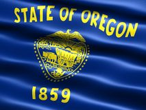 Flag of the state of Oregon. Computer generated illustration of the flag of the state of Oregon with silky appearance and waves royalty free illustration