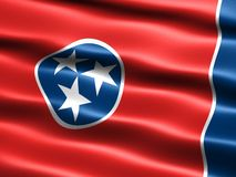 Flag of the state of Tennessee. Computer generated illustration of the flag of the state of Tennessee with silky appearance and waves stock illustration