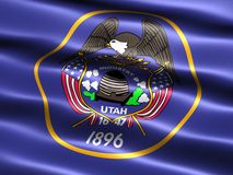 Flag of the state of Utah. Computer generated illustration of the flag of the state of Utah with silky appearance and waves Stock Image