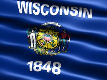 Flag of the state of Wisconsin. Computer generated illustration of the flag of the state of Connecticut with silky appearance and waves royalty free illustration