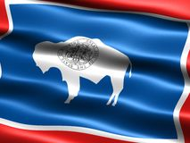Flag of the state of Wyoming. Computer generated illustration of the flag of the state of Wyoming with silky appearance and waves royalty free illustration
