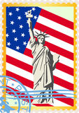 The flag and the Statue of Liberty Stock Photos