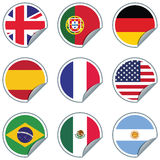 Flag Stickers. 9 Flag stickers from america and europe. CMYK Ai10 EPS vector illustration Stock Image
