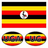 Flag and stickers on the car of Uganda, vector sticker flag of Uganda,  knuckles vrchat meme. Flag and stickers on the car of Uganda, vector sticker flag of Stock Photo