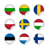 Flag stickers set 3 Stock Photo