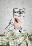 Flag with success. Hand drawing flag with success and dollars Royalty Free Stock Images