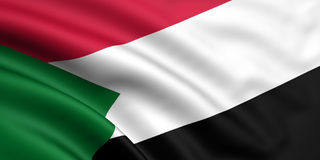 Flag Of Sudan. 3d rendered and waving flag of sudan Stock Image