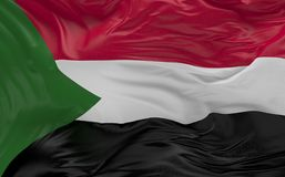 Flag of the Sudan waving in the wind 3d render Stock Photo