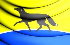 Flag of Surgut Khanty-Mansi Autonomous Okrug, Russia. 3D Flag of Surgut Khanty-Mansi Autonomous Okrug, Russia Stock Photo