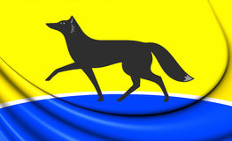 Flag of Surgut Khanty-Mansi Autonomous Okrug, Russia. 3D illustration Flag of Surgut Khanty-Mansi Autonomous Okrug, Russia Royalty Free Stock Photo