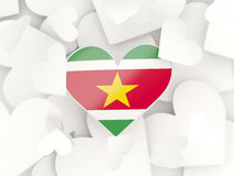 Flag of suriname, heart shaped stickers Royalty Free Stock Image